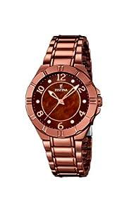 Festina F16729/1 - Reloj de cuarzo para mujer, con correa de acero inoxidable, color marrón de Festina