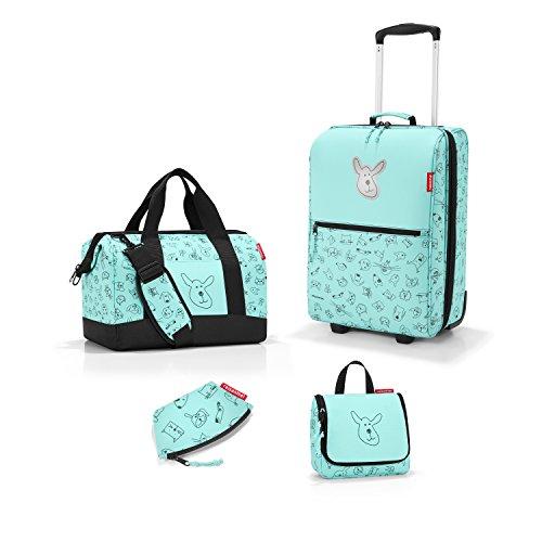 sehr schönes Reisenthel Reiseset für Kinder 4-tlg. bestehend aus Reisekoffer/trolley XS + Reisetasche/allrounder M+Kulturtasche/toiletbag S+Geldbeutel in dem trendigen Design Cat´s&Dog´s mint