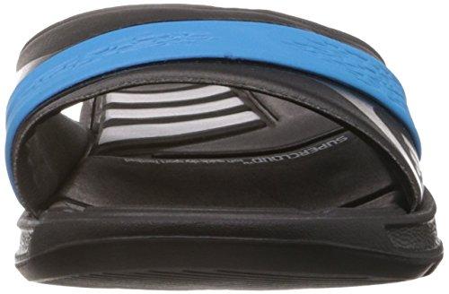 adidas Nitrocharge Slide, Chaussures de Bain Homme Noir - Schwarz (Black 1/Metallic Silver/Solar Blue S14)