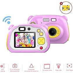 CrazyFire Appareil Photo Enfant Numérique Caméra Selfie Rechargeable Numérique pour Enfants, Ecran à 2 Pouces Objectif HD 1200M/1080P Coque en Silicone Résistant aux Chocs (avec Carte TF 32 Go)(Rose)