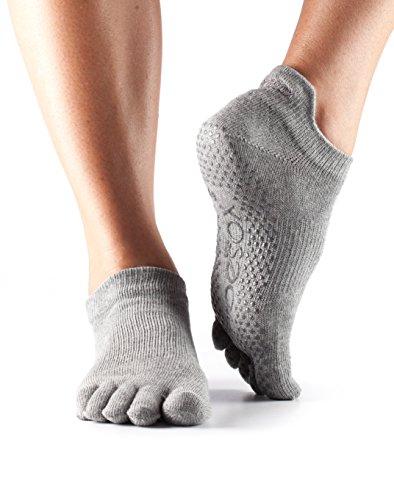 ToeSox Frauen 1 Paar Ausführliche Toe Organic Cotton Low Rise Yoga Socks In Fuchsia, Grau Marmoriert, 39/42