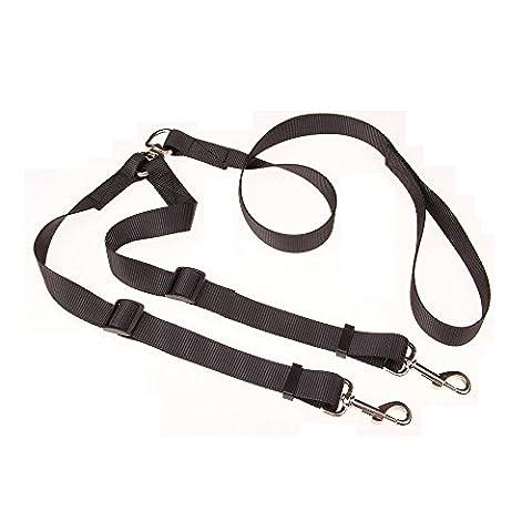 Yusen Kaisha no-tangle Double Double 2chiens Double Laisse coupleur, longueur réglable traction Câble Collier 1-to-2Laisse corde de traction en nylon, leashs pour chiens de petite et moyenne taille, résistance testée à 120lbs
