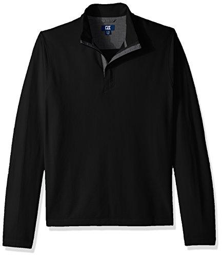 Cutter & Buck Herren Hewitt Lightweight Honeycomb Textured Half-Zip Sweatshirt Hemd, schwarz, Large Hoch Half Zip Lightweight Pullover