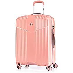 Leichtgewicht Reisekoffer Hartschale TSA integriert M-24(65cm) von Verage V-Lite, 4 Rollen ABS/PC Trolley (Pink) mit Sicherheits-Reißverschluss