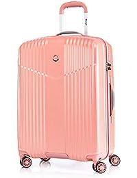 Leichtgewicht Reisekoffer Hartschale Handgepäck TSA integriert S-M-L-Set von Verage V-LITE, 4 Rollen ABS/PC Trolley (Schwarz, Blau, Rot, Pink, Silber) mit Sicherheits-Reißverschluss