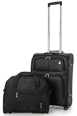 Aerolite Lightweight Easyjet and British Airways BA Maximum Cabin Allowance Hand Luggage Travel Suitcase 56x45x25cm with 2 Wheels (Black)