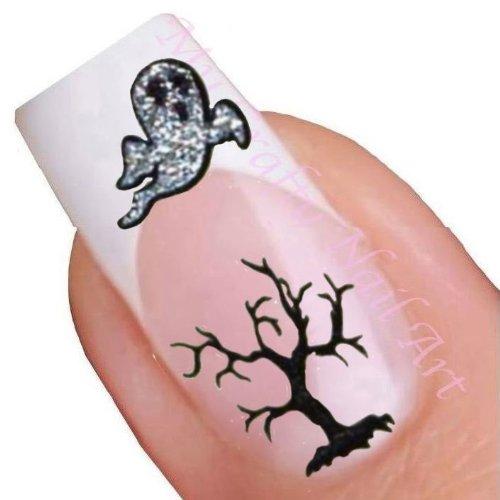 Halloween paillettes adhésives autocollants pour nail art - chat, arbre