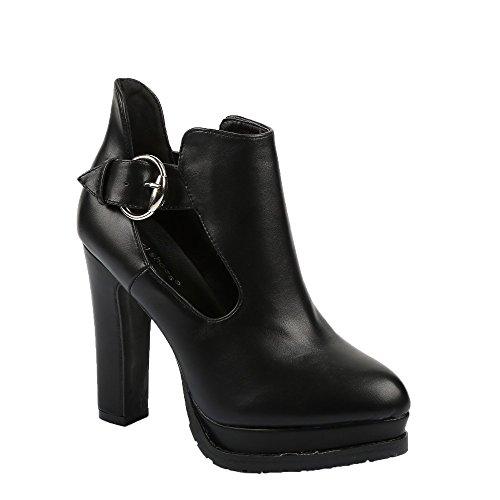 Ideal Shoes - Bottines à talon en similicuir Rosaline Noir