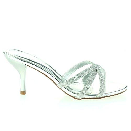 Frau Damen Überfahren Riemen Schlüpfen Schlank Hoher Absatz Abend Party Hochzeit Abschlussball Sandalen Schuhe Größe Silber