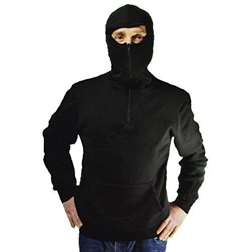 Sweatshirt für Stadion Ninja-Stil, für Ultras, mit Kapuze Sturmhaube und Reißverschluss, Schwarz ()
