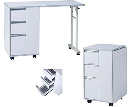 Polironeshop Naxos Table à tiroirs pliable pour manucure, accessoire pour esthéticienne, Bianco