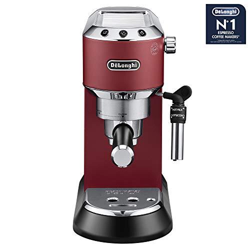 De'Longhi Dedica EC 685.R Espresso Siebträgermaschine | 15 bar |  Professionelle Milchschaum Düse| Füllmenge 1 l | Vollmetallgehäuse | Auch für Pads geeignet | Rot