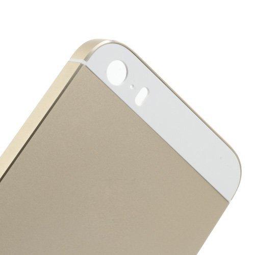 iPhone 5S, Rückseite Gehäuse, fogeek Neue Set komplett mit Glas weiß W/Seite weiß Trim Gehäuse aus Metall für Notebook für iPhone 5S 5GS Knöpfe (W/SIM Karte Tablett) champagne oro
