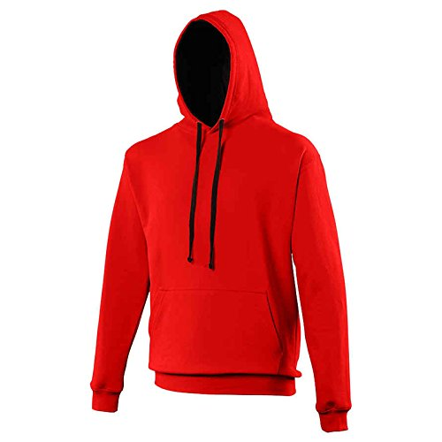 AWDis Herren Modern Kapuzenpullover Gr. L, Fire Red/ Jet Black (Hooded Jacket Flannel Mens)