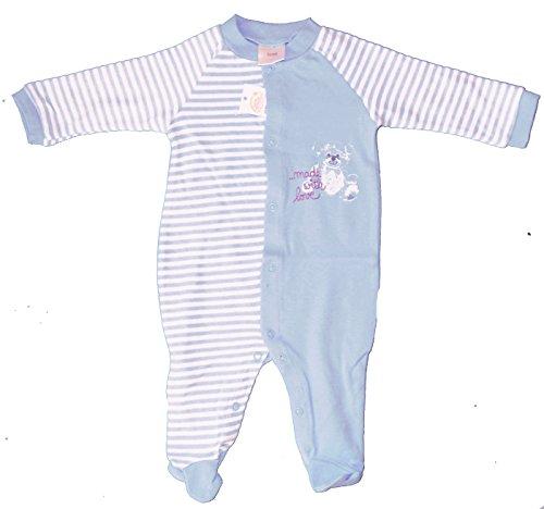 KH-Haushaltshandel Baby Schlafanzug, Schlafstrampler, Schlafoverall 100% Baumwolle, Jersey, ÖKOTEX (50/56, blau)