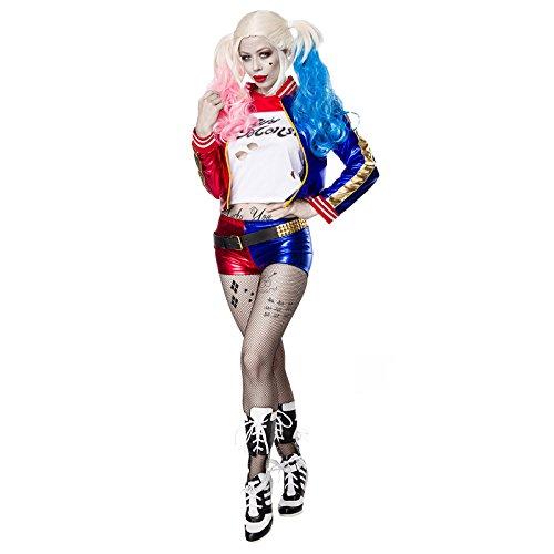 (Sexy Halloween Joker Cheerleader Kostüm Damenkostüm Damen Set 5-tlg. Horror Zombie Vampir)