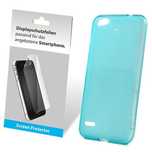 SCHUTZFOLIE + TPU Silikon Bumper Case Tasche Hülle Case Cover Schutz Cover Etui Hellblau für Medion Life E5006