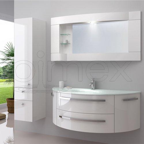 OimexGmbH Design Badmöbel Set 'Côte d'Azur' Weiß Hochglanz Waschtisch 120cm inkl. Seitenschrank Armatur und Spiegel Badezimmermöbel Set mit Glas Waschbecken