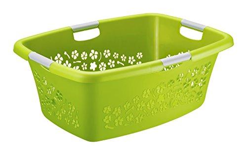 """Wäschekorb """"Flowers"""" Rotho Kunststoff/Plastik (PP) grün/weiss Gr. L, Inhalt ca. 50 Liter (LxBxH) ca. 65 x 48.6 x 26.2 cm Moderner Wäschesammler 1756790000"""