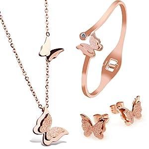 """Kim Johanson Edelstahl Damen Schmuckset """"Schmetterling"""" Halskette mit Anhänger, Ohrringe und Armreif in Roségold inkl. Schmuckbeutel"""