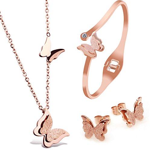 """Kim Johanson Edelstahl Damen Schmuckset \""""Schmetterling\"""" Halskette mit Anhänger, Ohrringe und Armreif in Roségold inkl. Schmuckbeutel"""