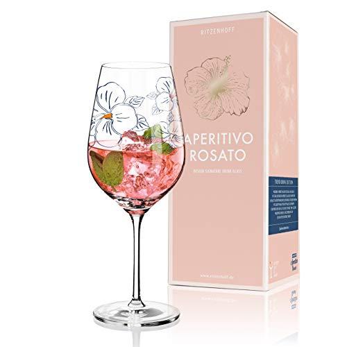 RITZENHOFF Aperitivo Rosato Aperitifglas von Angela Schiewer, aus Kristallglas, 600 ml, mit trendigen Dekoren