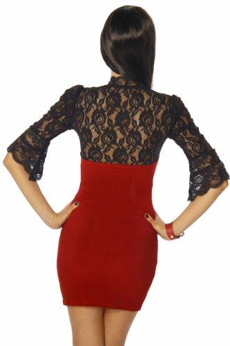 Somnia Luna Minikleid mit Spitze Damen Oberteil Kleid Dress Rot/Schwarz