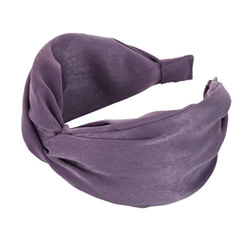 TOPKEAL Stirnbänder Damen Haarband Kopfband Turban Bandana Kopftuch Mode Bogen Knoten Haar Kopf Hoop Einfache süße Mädchen Niedlich Stirnband (Lila)
