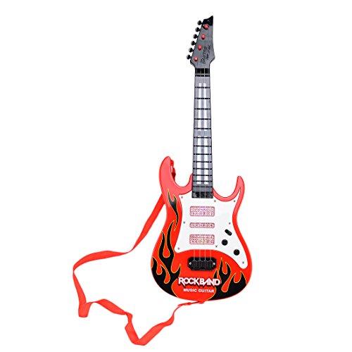 TXXCI Rock Band Music e-Gitarre 4 Streicher Kinder Musikinstrumente Pädagogisches Spielzeug - Rot Flame