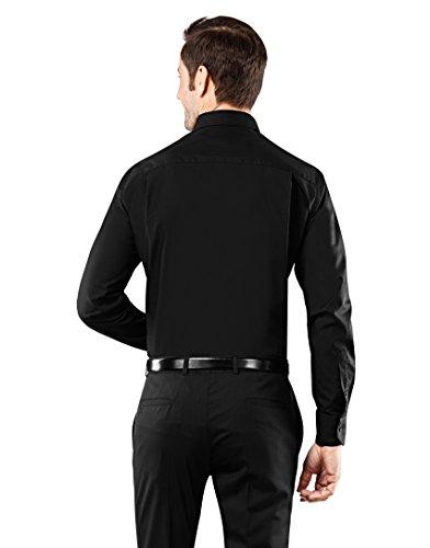 Vincenzo Boretti Herren Hemd Regular Fit Bügelfrei Uni Schwarz