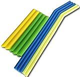 Set di 10cannucce riutilizzabili in silicone in 2misure–largo e sottile–per frullati, tè, caffè, succo, tutte le bevande calde o fredde e bicchieri–colorata e divertente per bambini–senza BPA, non tossico, ecologico, lavabile, lavabile in lavastoviglie–Plus 2free Cleaning Brushes–blu/verde/giallo