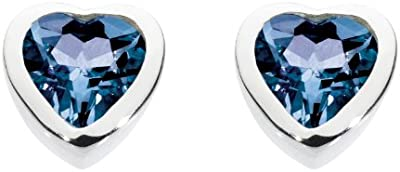 Dew 3035SS - Pendientes de botón de plata de ley con zafiro
