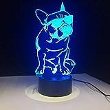 I will take action now Chien de Loi coloré 3D Nuit lumière lumière Tactile Tactile télécommande Chiot 3D LED lumière visuelle Petite Lampe