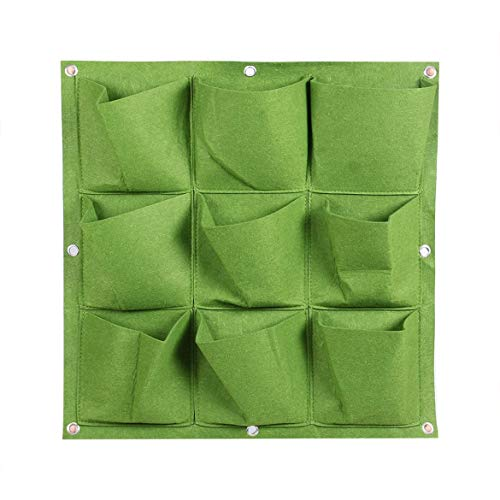 JohnJohnsen Outdoor Indoor 9 Pocket Vertical Gardening Hanging Wall Planting Bags Seedling Wall Planter Growing Bags Home Supplies(Green)