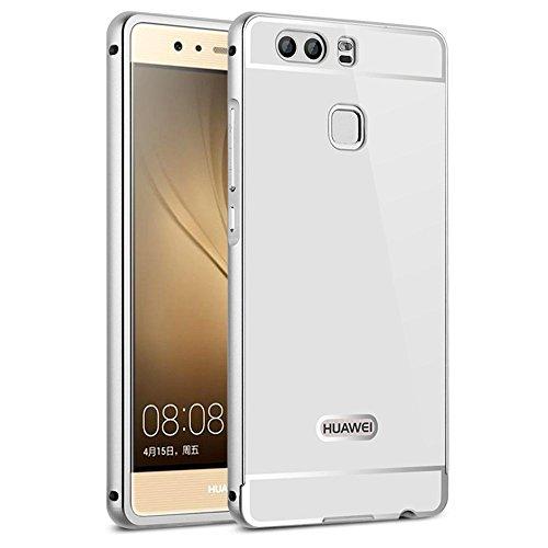 Huawei P9 Case Cover, Sunroyal® Nuovo Acrilico Copertura Di Caso Protezione Shinny Bling Custodia Struttura Metallica Fusion Mirror in Alluminio Protettiva Cassa per Huawei P9 5.2 pollici -