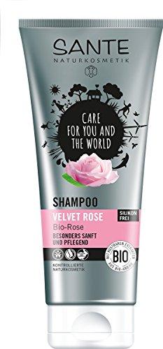 SANTE Naturkosmetik Shampoo Velvet Rose, Besonders sanft & pflegend, Für jeden Haartyp, Tägliche Pflege, 2x200ml Doppelpack - Pflegende Rose