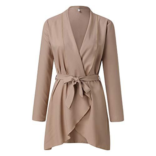 GOKOMO Windjacke Damen Damenmode Lässig Reine Farbige Krawatte V-Ausschnitt Langarm Mantel(Khaki,Medium)
