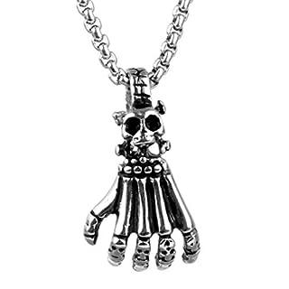 Beydodo Schmuck Titan Halskette für Herren Silber Schädel Totenkopf Hand Anhänger Kette Hip Hop Freundschaftskette