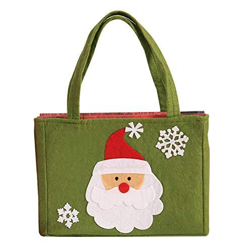 Vikenner Geschenkbeutel mit Weihnachtsmann Grün Tasche,Weihnachten Stoffbeutel für Hochzeit Party Süßigkeitstasche und Kekse