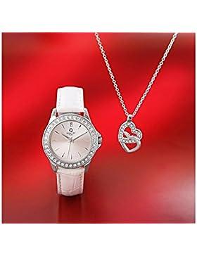 Quality Time Damenuhr + Herz-Anhänger mit Kette Geschenkset Echtleder
