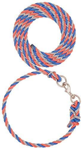 Weaver Leder-Halsband, verstellbar, Blau/Korallengrau 1,3 x 2,5 cm