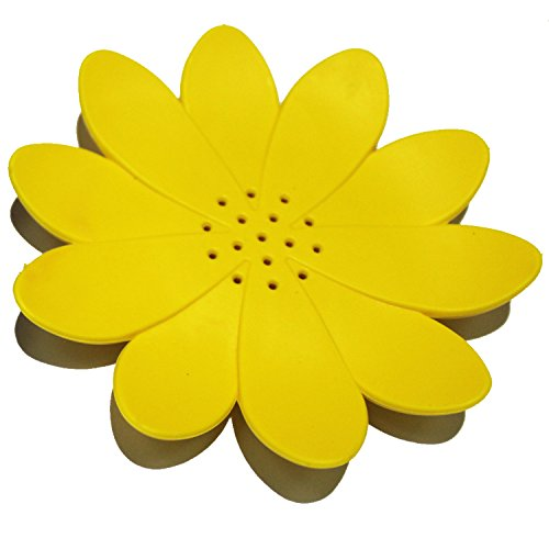 Amazing New Silicon Soap Dish Soap Box Various Colours and Style (Yellow Flower)