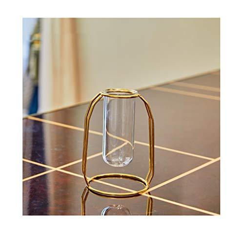 ZHING Blumenvase Glass Herzstück Vasen Mit Metallständer Zylinder Klar Vasen Für Blumendekoration (Zylinder Vase Herzstück)