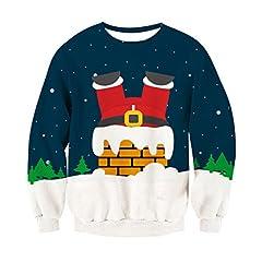 Idea Regalo - Chicolife unisex divertente Christmas Santa Chimney Stampa Happy xmas Pullover Maglione Felpa per le donne gli uomini