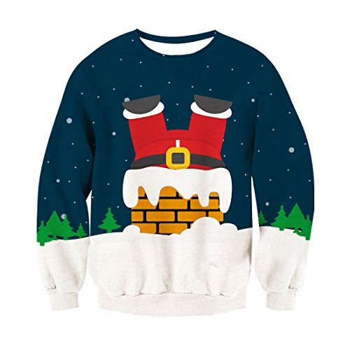 RAISEVERN Unisex Lustige Weihnachten Santa Chimney Print Lustige Weihnachten Pullover Pullover Sweatshirt für Teen Juniors -