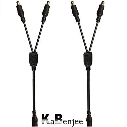 KaBenjee 2X DC 1 Buchse zu 2 Stecker 5,5×2,1mm DC Splitter Kabel Powercable DC Verteiler Kabel Stromkabel für LED Streifen,CCTV Kamera Y Splitter Kabel,DC Stromkabel DC Stromverteiler - 2