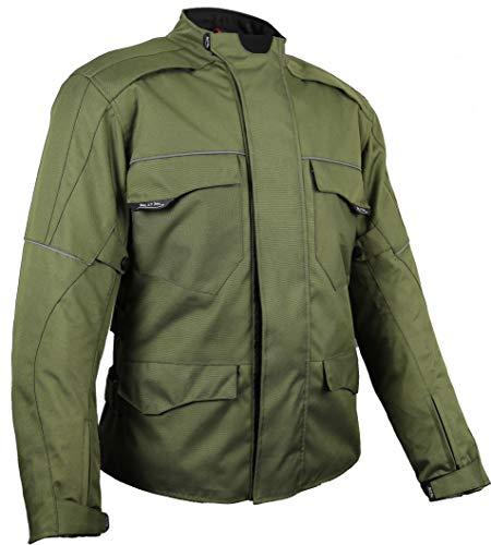 MDM Veste de moto textile coupe-vent et imperméable en kaki Vert