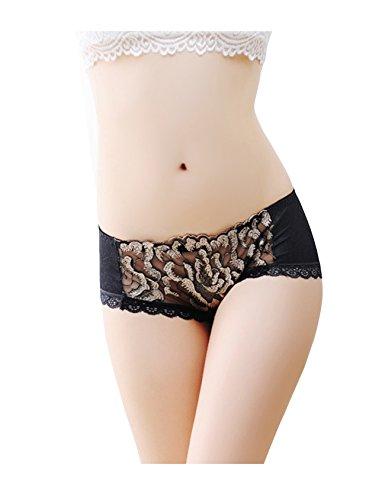 Legou Damen Blumen Unterwäsche Spitze Lace Ultradünner Atmungsaktive Slip Unterhose Thongs schlüpfer Schwarz