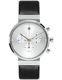 Jacob Jensen 606 - Reloj cronógrafo de cuarzo unisex con correa de piel, color negro