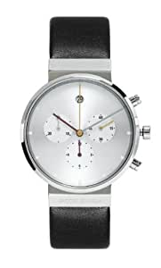 Jacob Jensen Chronograph Series Unisex Quartz Watch with White Dial Chronograph Display and Black Leather Strap 606